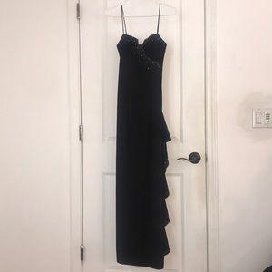 Black prom dress with blue beading